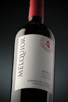 Fotografía de botella de vino creativa Melquior Roble