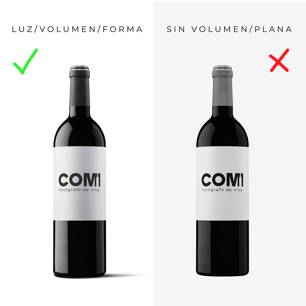 fotografia botella de vino como se hace comparacion volumen luz
