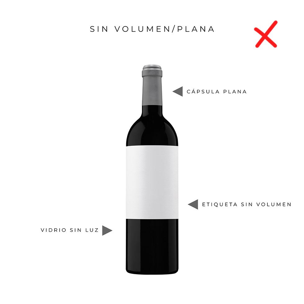 fotografia de botella de vino mal hecha sin volumen no luz